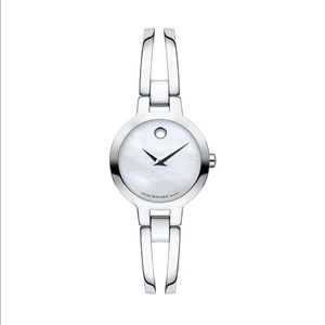Movado women's mother of pearl face watch ss euc